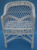 Fotel wiklinowy, firmowy pomalowany na bia³o. 59x60, wys. 42/82, siedzisko 45 x 43